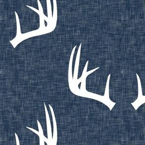 (jumbo scale) antlers on navy linen