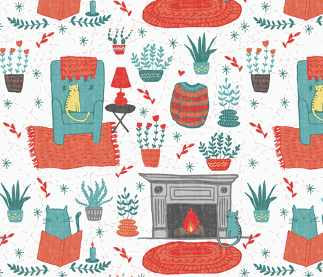 Kitty Hygge  fabric by scarlette_soleil on Spoonflower - custom fabric