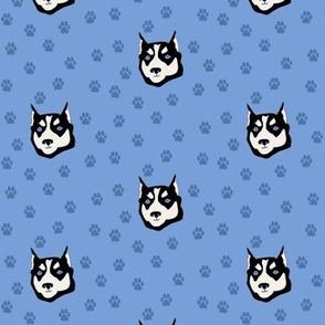 Husky Dog with Paw Prints
