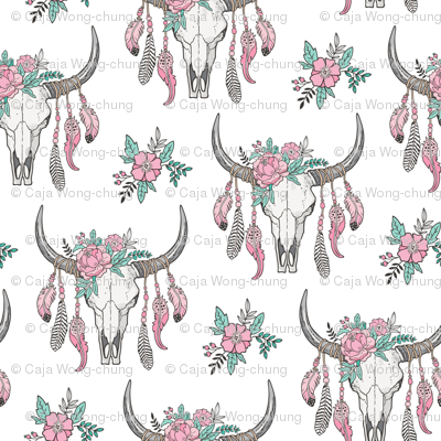 Boho Longhorn Cow Skull with Feathers and Flowers Pink Smaller 3 inch