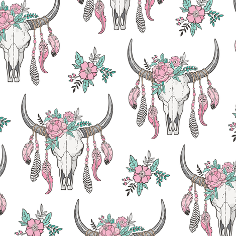 Boho Longhorn Cow Skull with Feathers and Flowers Pink Smaller 3 inch fabric by caja_design on Spoonflower - custom fabric