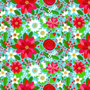 Poinsettia retro floral // red and pink flowers // Poinsettia floral // Red flowers // Holidays // holly
