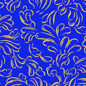 Painted Gold Scroll on Blue