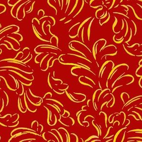 Painted Gold Scroll on Red