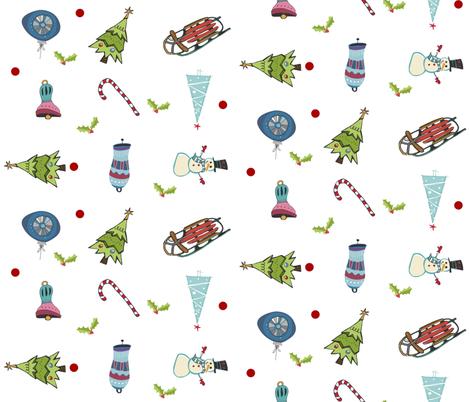 Mod Christmas Fun LG10 - mistletoe around fabric by drapestudio on Spoonflower - custom fabric