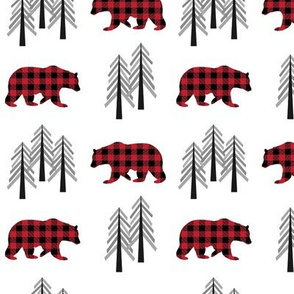 Woodland Bear & Trees  – Red Plaid Bears Buffalo Plaid Check Forest Baby Nursery Bedding