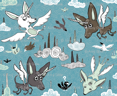 chipegacorn, chihuahua dog + pegasus + unicorn mythical creature! large scale, blue mint green brown white black