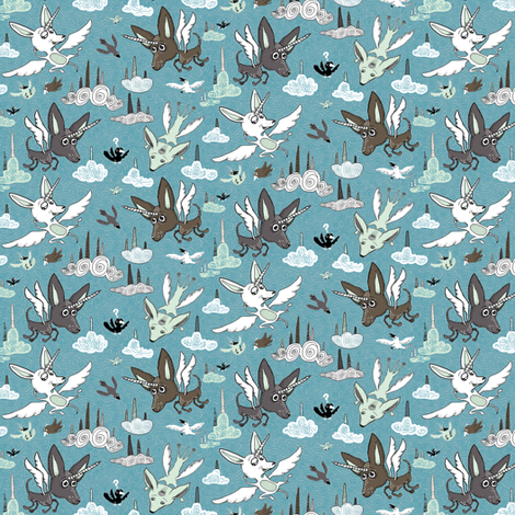 chipegacorn, chihuahua dog + pegasus + unicorn mythical creature! small scale, blue mint green brown white black fabric by amy_g on Spoonflower - custom fabric