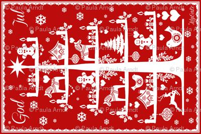 God Jul Tea Towel red