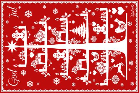God Jul Tea Towel red fabric by lilyoake on Spoonflower - custom fabric