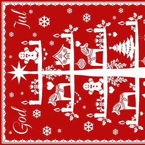 God Jul Tea Towel red