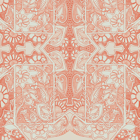 A Sunny Orange Place of Old Lace fabric by edsel2084 on Spoonflower - custom fabric