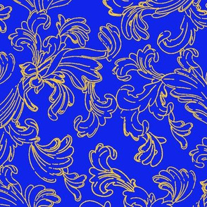 Gold Scroll on Blue