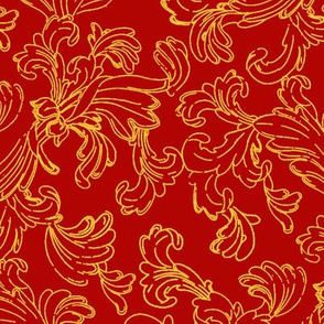 Fine Gold Scroll on Red