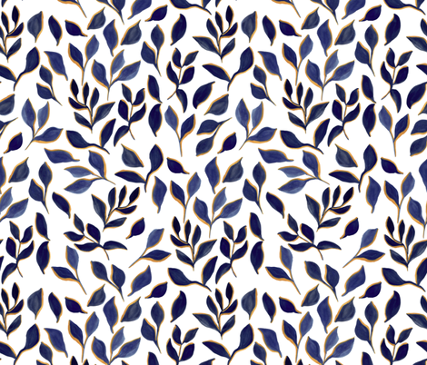 blue foliage fabric by t_textile_design on Spoonflower - custom fabric