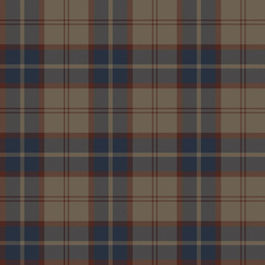 "Dunbar tartan, 6"", custom colorway redbrown/navy/tan"