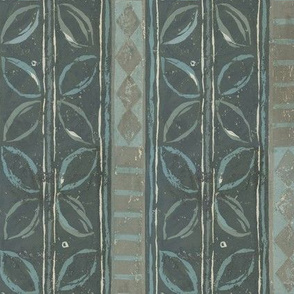 Tribal Leaf Stripe Aqua and Charcoal