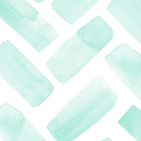 (jumbo scale) watercolor herringbone - aqua fabric by littlearrowdesign on Spoonflower - custom fabric