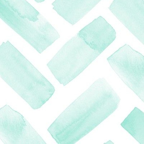 (jumbo scale) watercolor herringbone - aqua