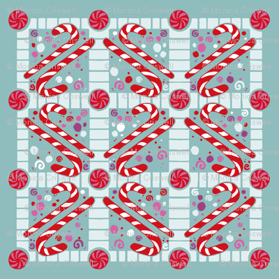 candy canes // candy giftwrap xmas holiday christmas fabric