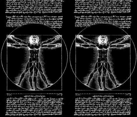8 censored Vitruvian Man Leonardo da Vinci classical Renaissance anatomy anatomical studies portraits antique nude naked black white monochrome ratios architecture nudity circles squares body proportions mathematics art   fabric by raveneve on Spoonflower - custom fabric