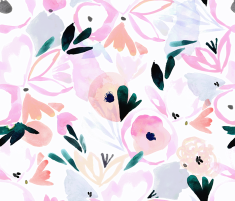 sunset pink floral fabric by crystal_walen on Spoonflower - custom fabric