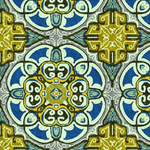Isabella, Rosette Medallion, Blue and gold