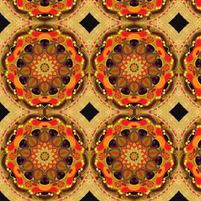 gold mandala hand painted red black and green