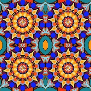 Blue and Gold Mandalas - teal royal blue orange periwinkle