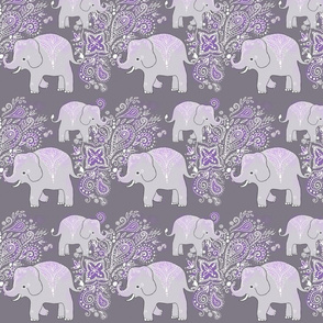 Mehndi elephants in lavender and grey