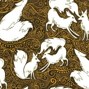 Frolicking foxes summer gold