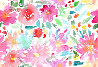 Watercolor pink flowers mini scale
