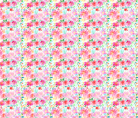 Watercolor pink flowers mini scale fabric by katerinaizotova on Spoonflower - custom fabric
