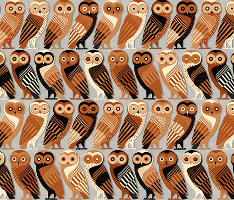 Owls of Athens fabric by spellstone on Spoonflower - custom fabric