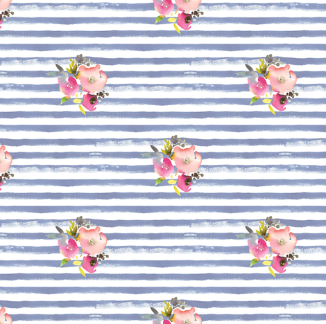 watercolor stripes roses navy fabric by aenne on Spoonflower - custom fabric