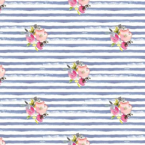 watercolor stripes roses navy