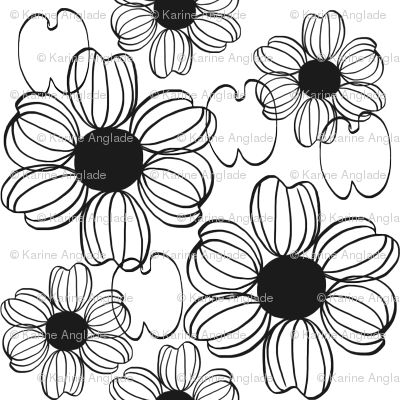 Fleur Noir Et Blanc Fabric Karine Anglade Spoonflower