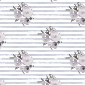 watercolor stripes roses grey