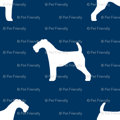 Airedale Terrier silhouette (smaller) dog fabric fabric navy