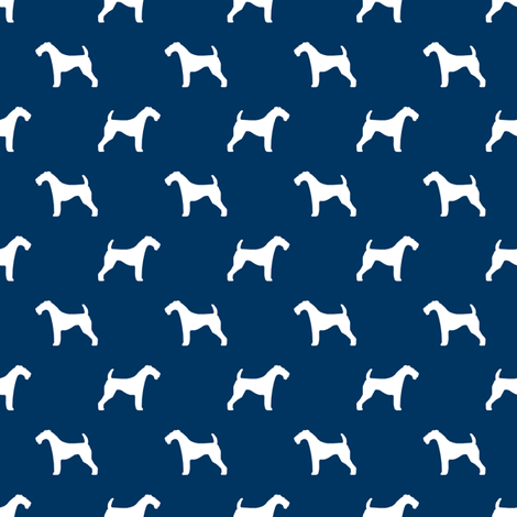 Airedale Terrier silhouette (smaller) dog fabric fabric navy fabric by petfriendly on Spoonflower - custom fabric