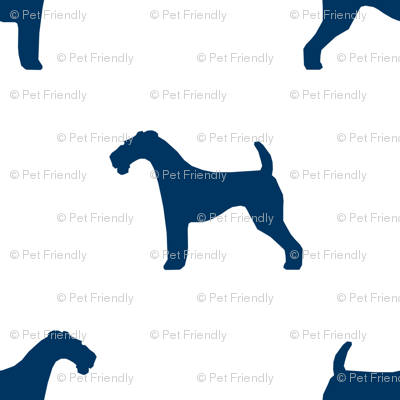 Airedale Terrier silhouette (smaller) dog fabric fabric white navy