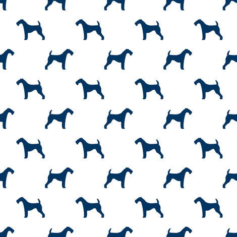 Airedale Terrier silhouette (smaller) dog fabric fabric white navy fabric by petfriendly on Spoonflower - custom fabric