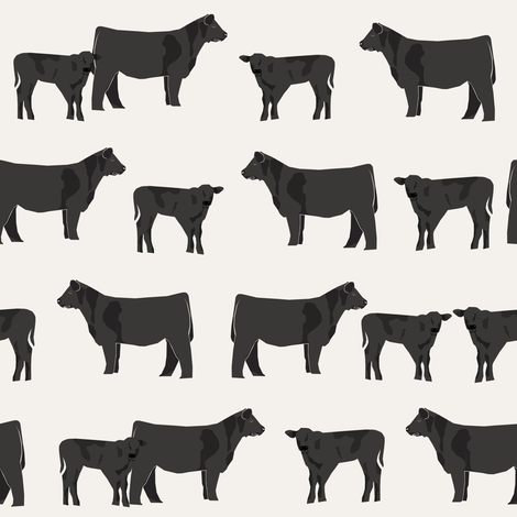 black angus fabric cattle and cow fabric cow design - cream fabric by petfriendly on Spoonflower - custom fabric