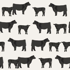 black angus fabric cattle and cow fabric cow design - cream