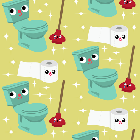 In The Bathroom  fabric by heidikenney on Spoonflower - custom fabric