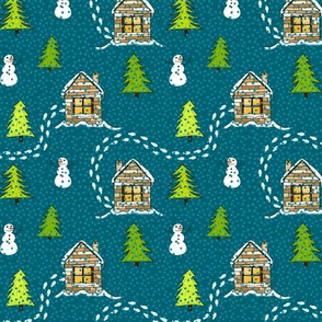 Alpine Ski lodge on Teal