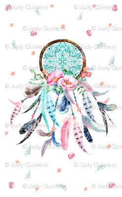 "2 to 5 yards of 56"" wide fabrics only / Pink & Aqua Dream Catcher"