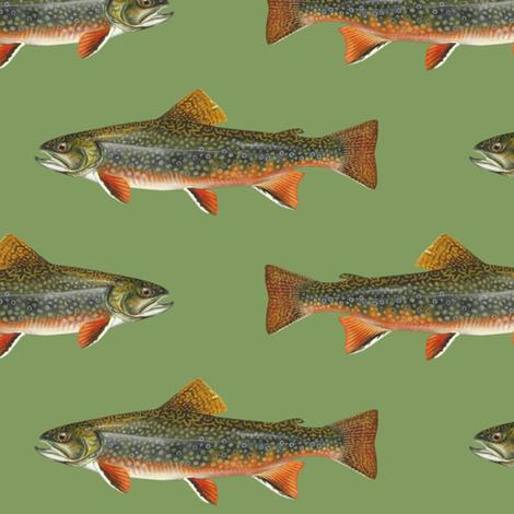 brook trout on vintage green fabric by weavingmajor on Spoonflower - custom fabric