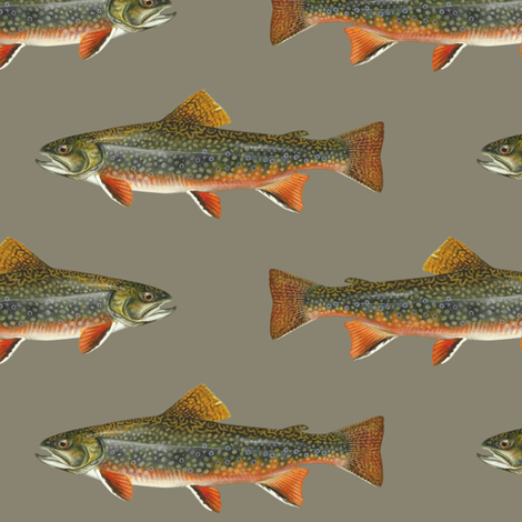 brook trout on pewter grey fabric by weavingmajor on Spoonflower - custom fabric
