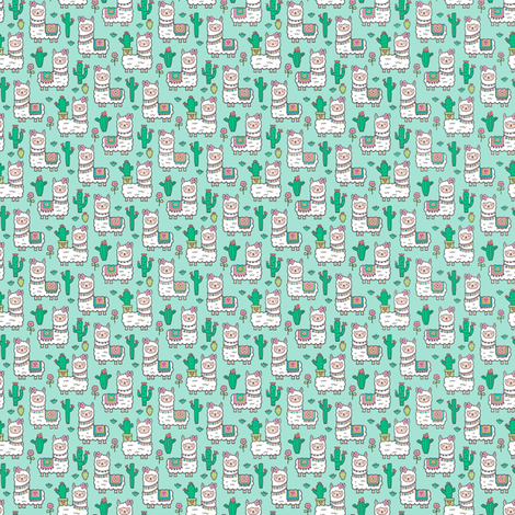 llamas  Alpaca Cactus & Flowers on Mint Green Tiny Small 0,5 inch width fabric by caja_design on Spoonflower - custom fabric